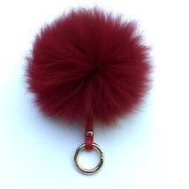 Fox Fur bag charm, fur pom pom keychain, fur ball keyring purse charm Red - €25,14 EUR