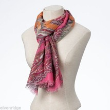 Fashion scarf  orange pink paisley