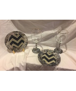 Hand Painted Gold, Black & White Wine Glasses and Cheese Plates Set of 2 - $34.99