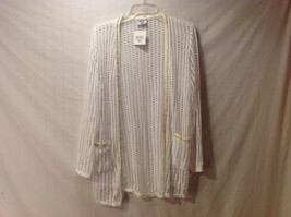 Mad About Style Womens Size 3X Layering Cardigan Cream Open Knit Gold Chain Trim