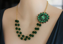 Emerald Green Necklace FREE Matching Earrings Green Jewelry Flower Necklace - $42.00