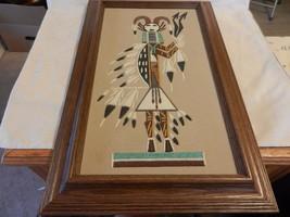 Colorful Framed Navajo Sand Art Hunchback of Whirling Log by Lorene Fragria - $197.99