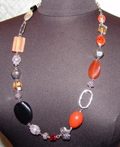 "Premier Designs Necklace 33 1/2""Womens Jewelry Multi Color Red Black Stones - $25.88"