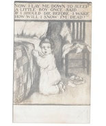 Artist Signed Postcard Gassaway Now I Lay Me Down To Sleep Child Kneelin... - $4.99