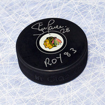 Steve Larmer Chicago Blackhawks Signed Hockey Puck with ROY 83 Note - $30.00