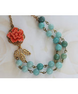 Bead Necklace, Amazonite Jewelry, Coral Flower Necklace, Vintage Jewelry - $48.00
