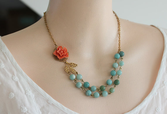 Bead Necklace, Amazonite Jewelry, Coral Flower Necklace, Vintage Jewelry