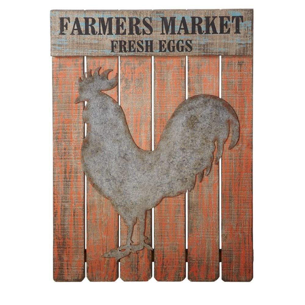 """FARMERS MARKET FRESH EGGS Sign Wall Decor w/ ROOSTER PLAQUE Art 26"""" X 35.5''H."""
