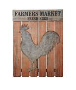 "FARMERS MARKET FRESH EGGS Sign Wall Decor w/ ROOSTER PLAQUE Art 26"" X 3... - $188.10"