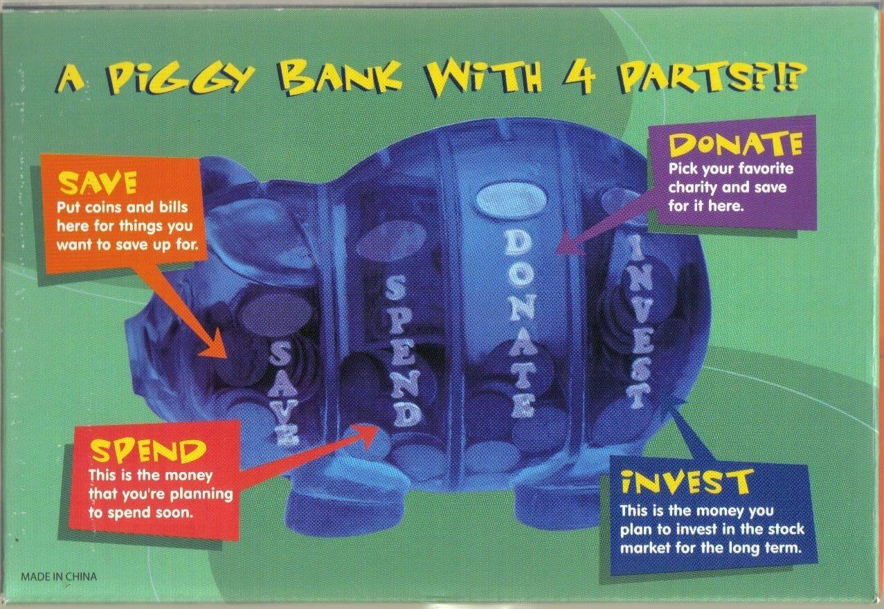 Money Savvy Piggy Bank BLUE-4 SLOTS:SAVE,DONATE,SPEND,INVEST-PARENTS' CHOICE AWA