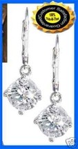 Earring CZ Leverback Solitaire Clear Silvertone Boxed NEW - $12.82