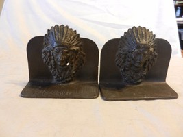 Pair of Rare Metal Warrior chief 3D relief vintage turn-of-the-century b... - $79.19