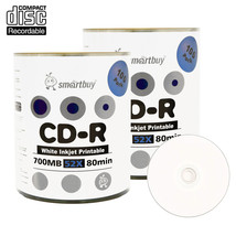 200 Pack Smartbuy 52X CD-R 700MB 80Min White Inkjet Printable Blank Record Disc - $32.87