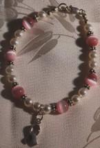 Pink cats eye   pearl bracelet w bc ribbon thumb200