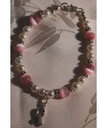 Breast Cancer Ribbon Pink Cat's Eye & Pearl Bracelet - Beautiful Beads! - $24.95