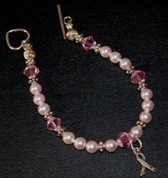 Pink crystal pink pearl bc charm bracelet2
