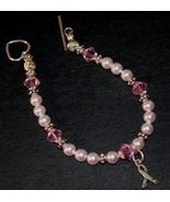 Just Pink Swarovski Crystal & Pearl Beaded Breast Cancer Ribbon Bracelet - $24.95