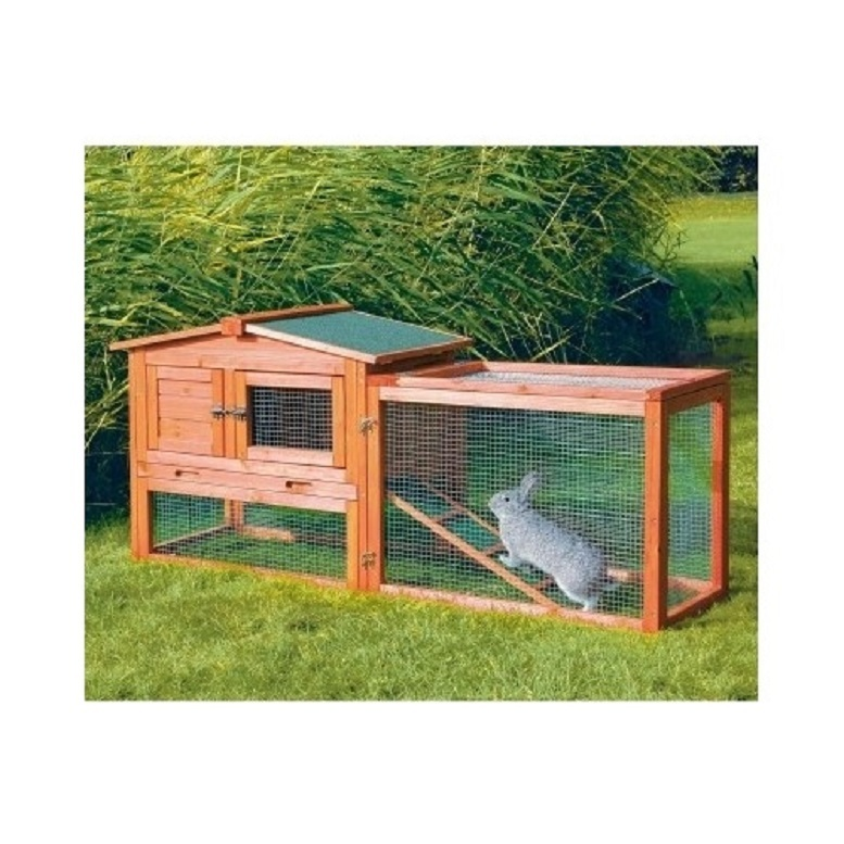 Small wooden rabbit hutch w outdoor run easy clean for Simple rabbit hutch