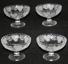 Set 4 Glass Dessert Cups Scalloped Edges Raised Flowers Pedestal Footed ... - $21.29