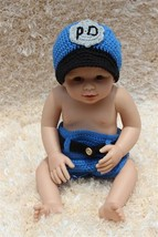 New Cute Cotton Handmade Blue Newborn Baby Knit Policeman Hat Nappy Phot... - $15.99