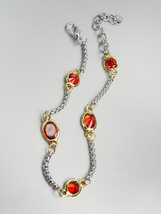 GORGEOUS Designer Style Silver Box Chain Cable Garnet Red CZ Crystals Bracelet  - $14.99