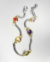 GORGEOUS Designer Style Silver Box Chain Cable Multicolor CZ Crystals Br... - €13,37 EUR