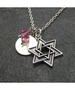 Star of David Necklace with Engraved Initial Birthstone Jewish Religious... - $24.99+