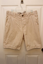 Abercrombie & Fitch Men Flat Front Shorts 100% Cotton Sz 31 Beige Tan Khaki  - $19.22