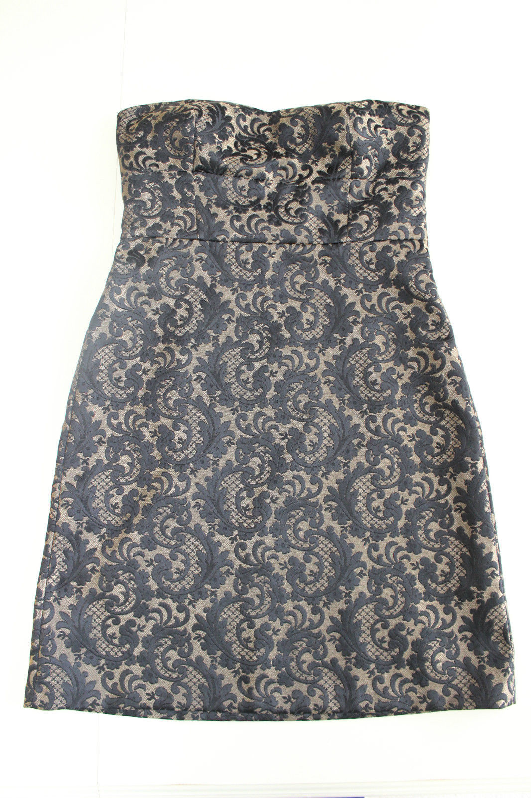 Ann Taylor Loft Black & Gold/Tan Jacquard Sheath Strapless Dress Size 10 Lined