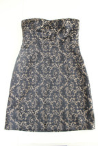Ann Taylor Loft Black & Gold/Tan Jacquard Sheath Strapless Dress Size 10... - $28.91