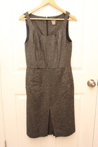 Ann Taylor LOFT Dress 6 Womens Black Fleck Wool Blend Tweed Sheath Pleat... - $38.57