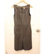 Ann Taylor LOFT Dress 6 Womens Black Fleck Wool Blend Tweed Sheath Pleat... - $38.57