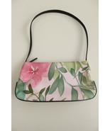 Ann Taylor Brown Faux Leather Trim Pink Floral Fabric Purse Handbag Trop... - $22.74
