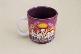 Disney ALADDIN Ceramic Coffee Mug Purple Alladin Jafar Genie Jasmine Abu - $11.62