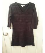 Liz Claiborne Petite Bodycon Sz XSP Stretch Black Dress 3/4 Sleeve Textured - $29.67