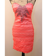 GORGEOUS LINED MINI DRESS ROMEO & JULIET COUTURE SIZE L EMBELLISHED CORAL  - $28.89