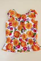 Gymboree Floral Peplum Top Yellow Red Purple Size 6 Sunflower Daisy - $13.52