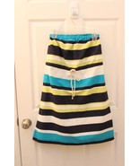 Gap Dress Linen Size S Strapless Lime Blues Striped Rope Tie Nautical Be... - $32.64