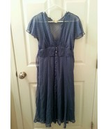 Jonathan Martin Size 6 Blue/Tan polka dot sheer chiffon flowy dress -  NWOT - $27.01