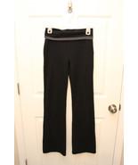 GAP BODY Black Wide Leg workout Yoga PANTS Size S Gray Fold Over Waist  - $7.85