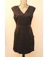 ZARA BASIC Womens Black Jacquard Cap Sleeve Wear to Work Dress POCKETS L... - $29.67