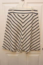 Talbots Petite Linen Blend Solid White A Line Skirt Mid Calf Lined 10 P Black - $28.94