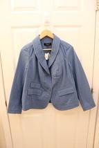 TALBOTS Petite Blue Stretch Cotton Canvas Twill Button Jacket Top size 1... - $14.85