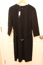 Talbots PLUS long sleeve stretch rayon blend BELTED Black dress size 16 ... - $79.17