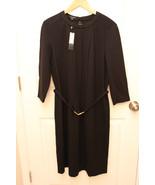Talbots PLUS long sleeve stretch rayon blend BELTED Black dress size 16 ... - $79.17