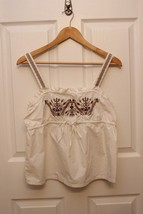 GAP Bright White Cotton Embroidered Tank Top Tunic Shirt LARGE Button Back - $12.84