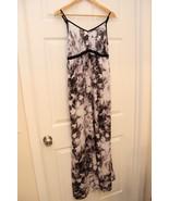 Simply Vera Wang S Maxi Dress Black Gray White Satin Spaghetti Strap Wat... - $13.86