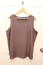 Karen Scott Woman's PLUS Size 1X Gray Geometric Sleeveless Polyester Tan... - $17.79