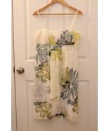 Max & Cleo Size 12 Dress Ivory Blue Green Floral Silk Sheer Empire Waist... - $48.35