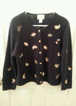 Christopher & Banks Size M Navy Sweater Cardigan Embroidered Fall Leaves... - $19.77